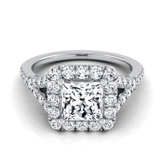 14k White Gold IGI-certified 1 1/2ct TDW Princess-cut Diamond Square Halo Engagement Ring