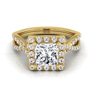 14k Yellow Gold IGI-certified 1 1/2ct TDW Princess-cut Diamond Halo Engagement Ring (H-I, VS1-VS2)