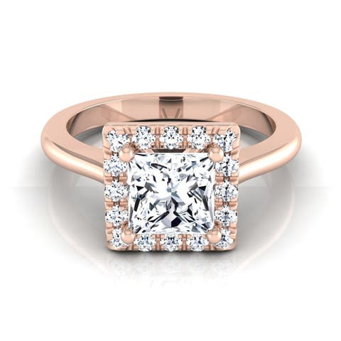 14k Rose Gold IGI-certified 1 1/5ct TDW Princess-cut Diamond Halo Engagement Ring (H-I, VS1-VS2)