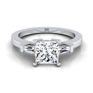 14k White Gold IGI-certified 1 1/4ct TDW Princess-cut Diamond Baguette Side Stone Engagement Ring (H-I, VS1-VS2)