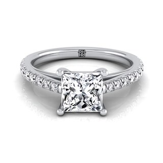 14k White Gold IGI-certified 1 1/4ct TDW Classic 4 Prong Princess-cut Diamond Engagement Ring