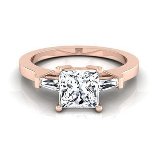 14k Rose Gold 1 1/4ct TDW Princess Diamond with Tapered Baguette Side Stones Engagement Ring
