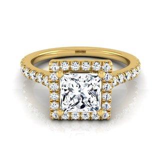 14k Yellow Gold IGI-certified 1 2/5ct TDW Princess-cut Diamond Round Halo Engagement Ring (H-I, VS1-VS2)