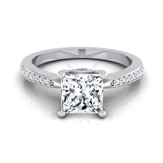 14k White Gold 1 1/8ct Princess Diamond Solitaire Engagement Ring