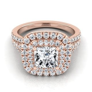 14k Rose Gold IGI-certified 1 7/8ct TDW Princess-cut Diamond Double Square Halo Engagement Ring (H-I, VS1-VS2)