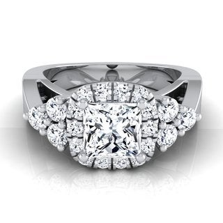 14k White Gold IGI-certified 1 5/8ct TDW Princess-cut Diamond Square Halo Engagement Ring (H-I, VS1-VS2)