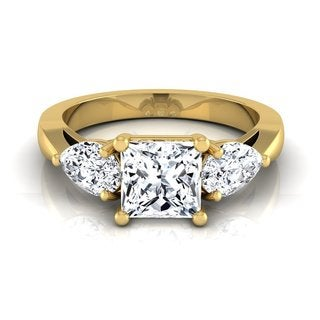 14k Yellow Gold IGI-certified 2ct TDW Princess-cut Center Pear-cut Engagement Ring (H-I, VS1-VS2)