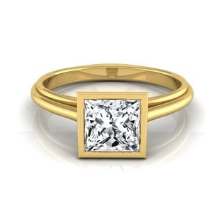 14k Yellow Gold IGI-Certified 1ct TDW Princess Cut Diamond Bezel Solitaire Engagement Ring (H-I,VS1-VS2)