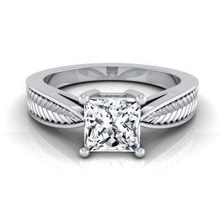 14k White Gold IGI-certified 1ct TDW Princess-cut Diamond 4-prong Engagement Ring