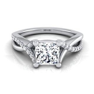 14k White Gold IGI-certified 1 1/6ct TDW Princess-cut Diamond Engagement Ring