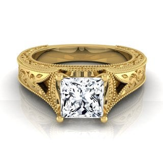 14k Yellow Gold IGI-certified 1ct TDW Princess-cut Antique-inspired Engraved Diamond Engagement Ring (H-I, VS1-VS2)