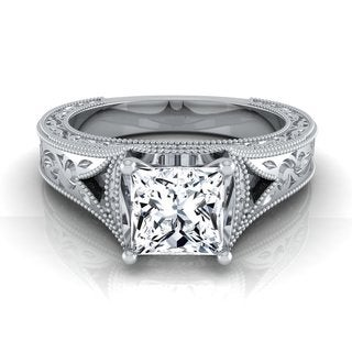 14k White Gold IGI-certified 1ct TDW Princess-cut Antique-inspired Engraved Diamond Engagement Ring (H-I, VS1-VS2)