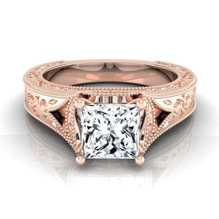 14k Rose Gold IGI-certified 1ct TDW Princess-cut Antique-inspired Engraved Diamond Milgrain Engagement Ring (H-I, VS1-VS2)