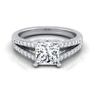 14k White Gold IGI-certified 1 1/3ct TDW Princess-cut Diamond Engagement Ring