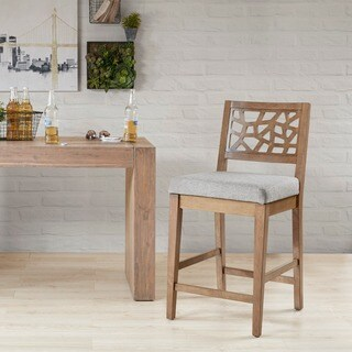 INK+IVY Crackle Light Grey/Natural Counter Stool