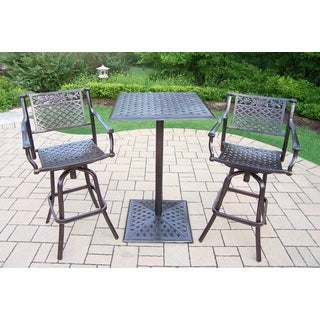 Camellia Cast Metal 3 Pc. Bar Set with Square Bar Table and 2 Swivel Bar Stools