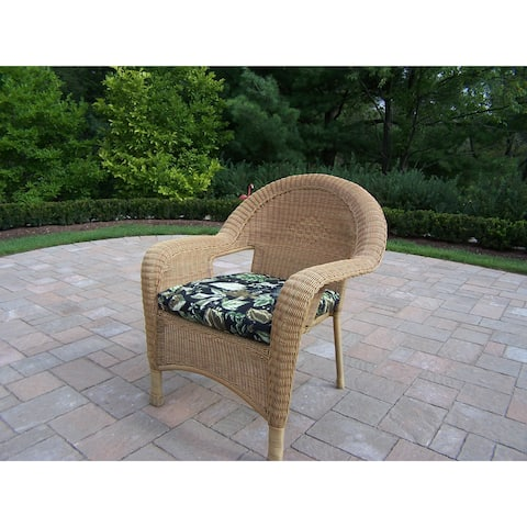 Calabasas Resin Wicker Arm Chairs with Cushions (2 pack)
