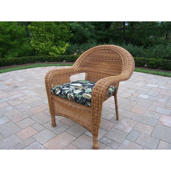 Calabasas Pair Of Resin Wicker Arm Chair With Cushions (2 Pack)
