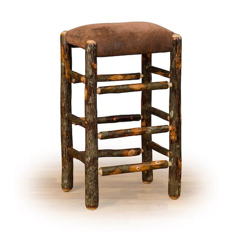 Rustic Hickory Counter Stool - Faux Brown Leather Seat