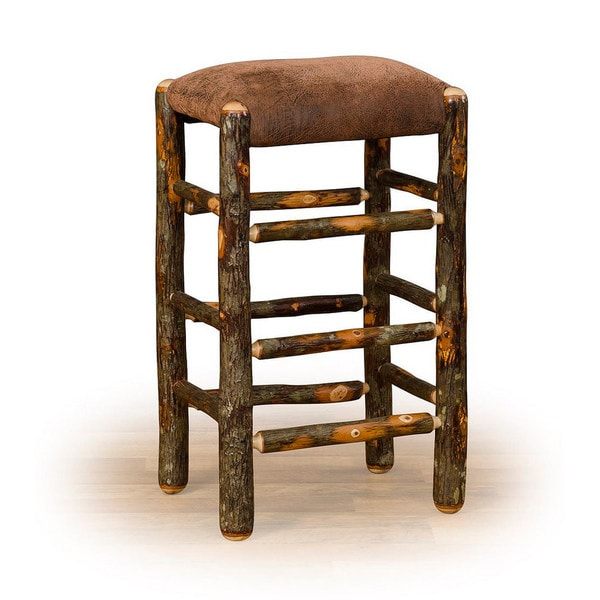 rustic hickory counter stool faux brown leather seat free