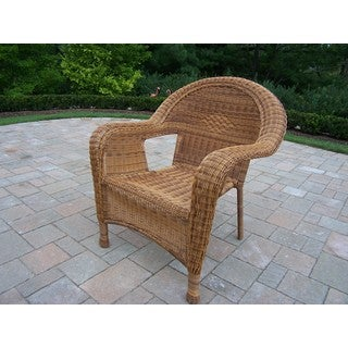 Calabasas Pair of Resin Wicker Arm Chairs (2 Pack)