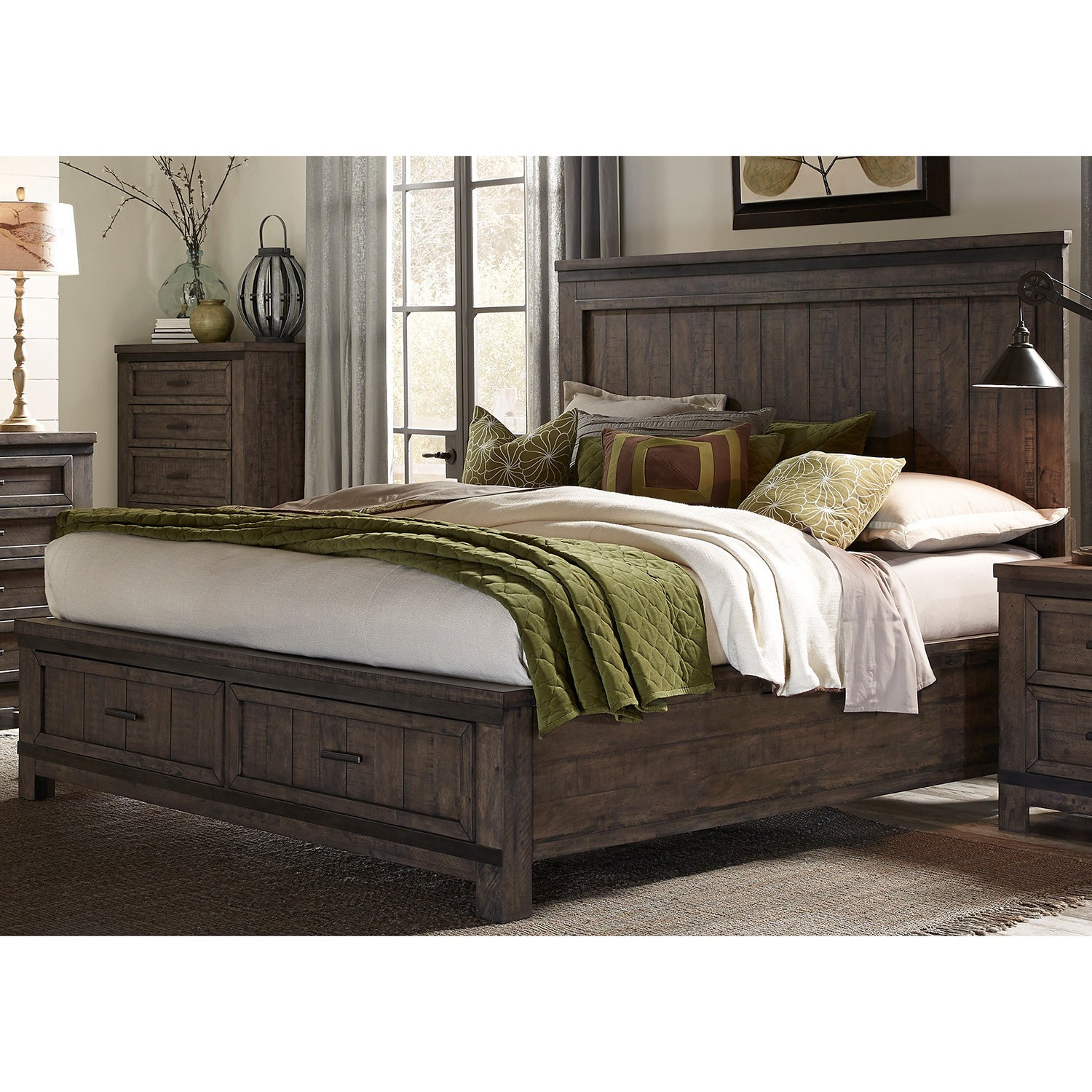 Liberty Thornwood Hills Rock Beaten Gray Storage Bed (Que...