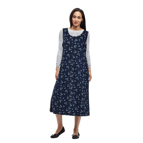 La Cera Women's Blue Cotton Sleeveless Coduroy Dress