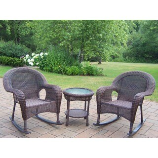 Calabasas Resin Wicker 3 Pc. Rocker Set with 2 Rocking Chairs and Side Table