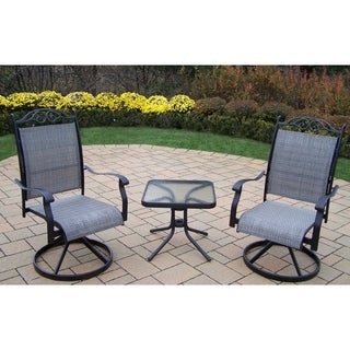 Radiance 3 Piece Chat Set with Two Swivel Rockers and 20-inch side table