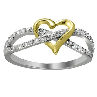 Sterling Silver/Rhodium-plated/Goldplated Cubic Zirconia Two-tone Infinity Heart Ring