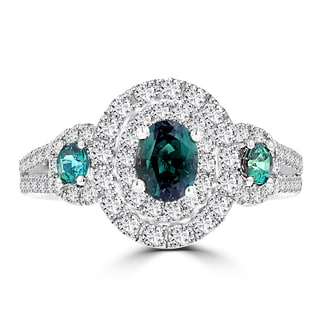 18K White Gold Fine Brazilian Alexandrite 7/8ct and Diamonds 1/2ct TDW