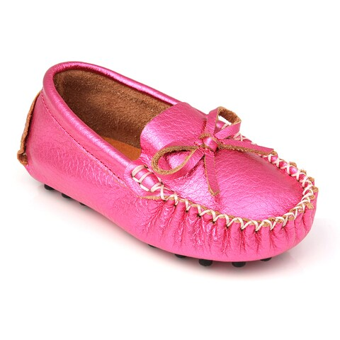Augusta Infants' Metallic Fuchsia Genuine Leather Loafers