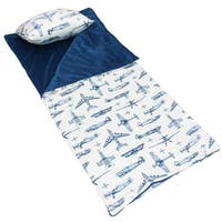 Blueprint Airplane Printed Microplush Slumber Bag