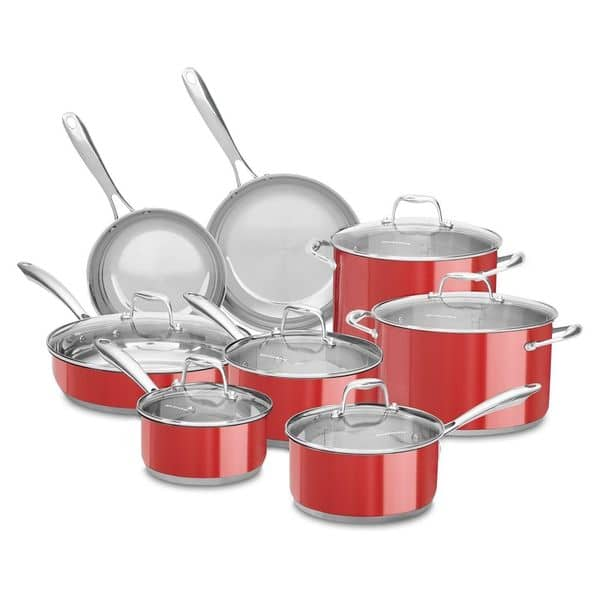 Shop KitchenAid 14-piece Stainless Steel Empire Red Cookware ...