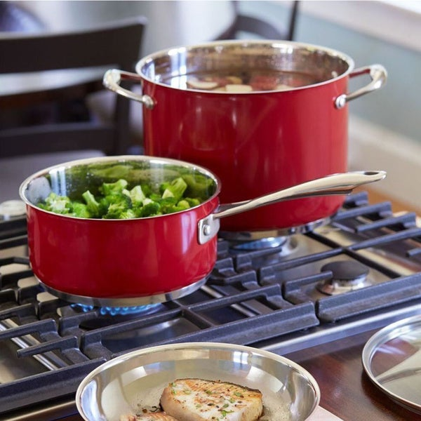 Kitchenaid 14 Piece Stainless Steel Empire Red Cookware Set