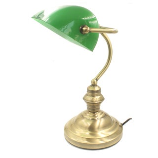 Rudy Green Glass and Gold Brass Bankers 15-inch Desk Lamp