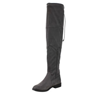 Reneeze AD97 Women's Drawstring Pull On Low Heel Over The Knee High Dress Boots