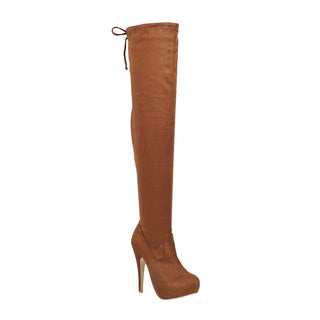 FOREVER GF31 Women's Drawstring Stiletto Heel Hidden Platform Thigh-high Boots