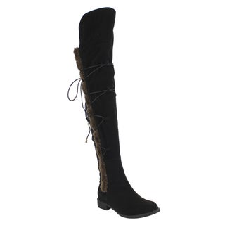 Athena EE55 Women's Over-knee-high Lace Wrap Side Zipper Riding Boots