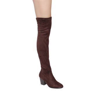Forever GF05 Women's Snug Fit Block Chunky Heel Over Knee-High Stretch Boots