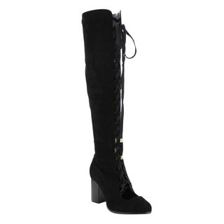 Athena Women's Faux Suede Lace Up Side Zipper High Stacked Over Knee High Boot
