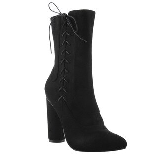 Cape Robbin Women's Faux Suede Side Lace Up Block Round Heel Mid Calf Boots