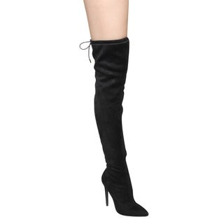 Beston GF61 Women's Pointy Toe Drawstring Stiletto Over-knee-high Boots