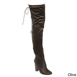 Chase & Chloe EE81 Women's Thigh-high Corset Lace-up Stacked High-heel Boots