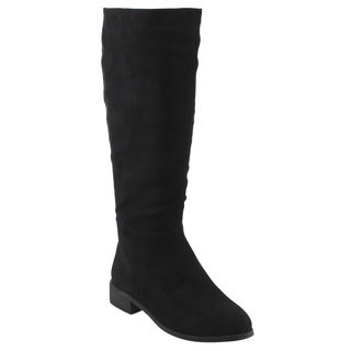 Reneeze AE18 Women's Black/Grey Faux-suede Block-heel Knee-high Dress Boots