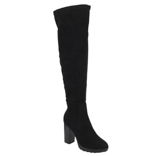 Reneeze Women's Faux Suede Half-zip Platform Chunky-heel Over-knee Boots