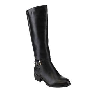 Via Pinky EE05 Women's Knee-high Elastic Buckle Strap Zipper Chunky Riding Boots