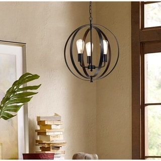 Benita Antique Black 3-light Concentric Mixed Iron Rings Orb Chandelier