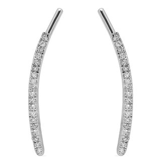 Elora 14K White Gold 1/10ct TDW Round Diamond Ear Crawler Earrings (I-J, I2-I3)