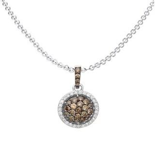Elora 14K Gold 3/4ct TDW Champagne & White Diamond Circle Pendant Necklace (I-J & Champagne, I1-I2 & I2-I3